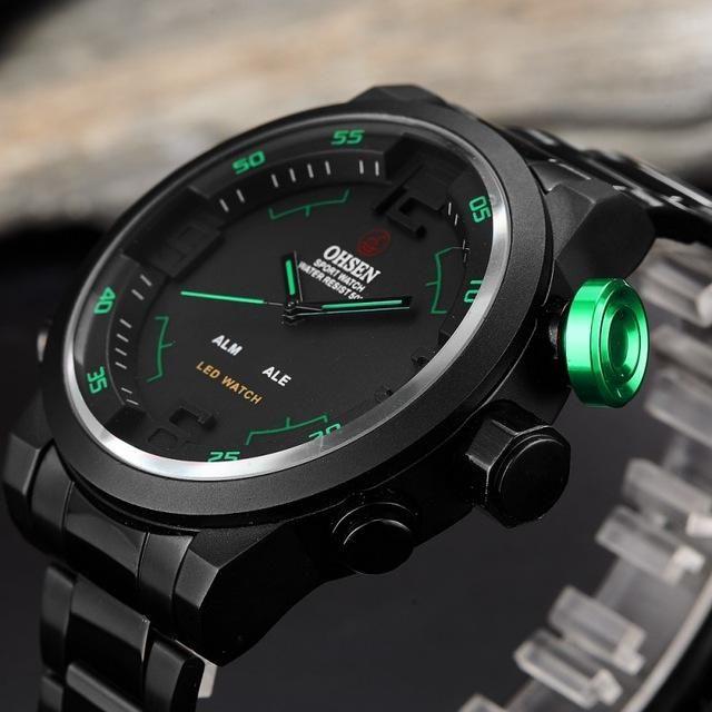 1c1ba9f632c OHSEN Quartz Digital Men Watches Military Waterproof Full steel LED  Wristwatch mens sports watch gifts relogio masculino