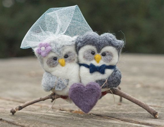 CUSTOM Needle Felted Owl Cake Topper