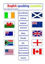 English worksheet: English Speaking Countries - join a flag ...