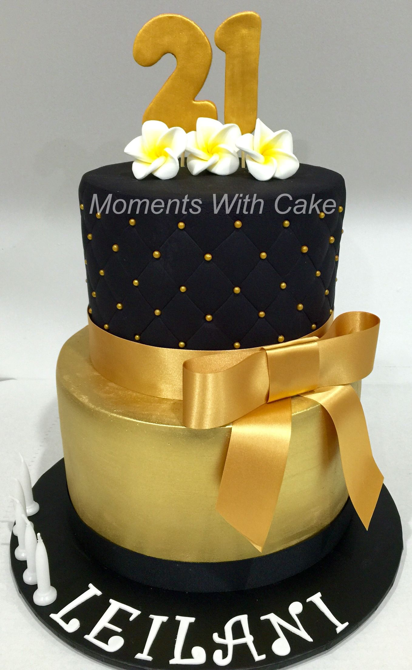 Gold And Black 2 Tier 21st Birthday Cake Momentswithcake Debut