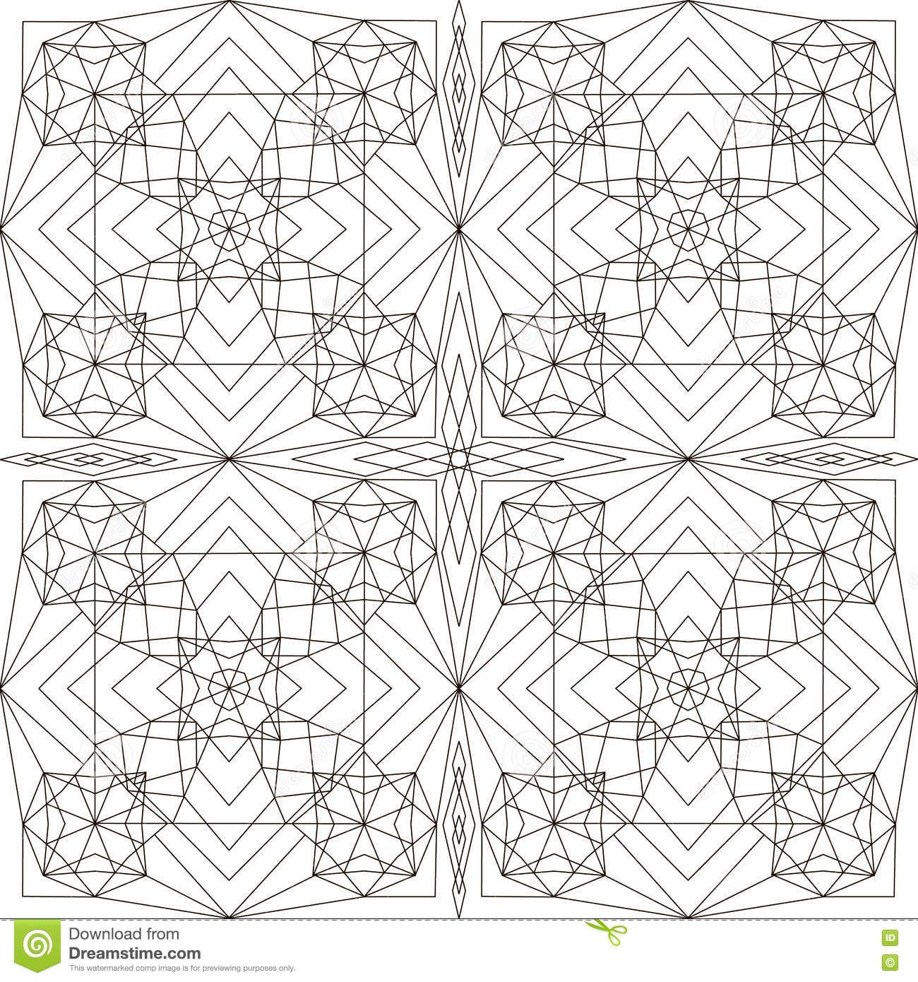 Geometric pattern page for coloring book stock vector image
