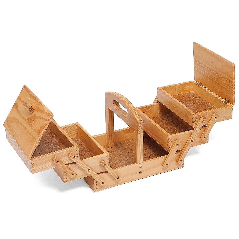light wood three tier cantilever sewing box | dunelm
