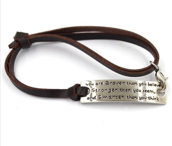 Adjule Leather Bracelet You Are Braver Than Believe Stronger Seem And Smarter Think