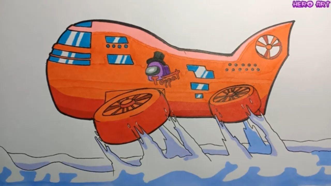 25+ Among us coloring pages airship HD