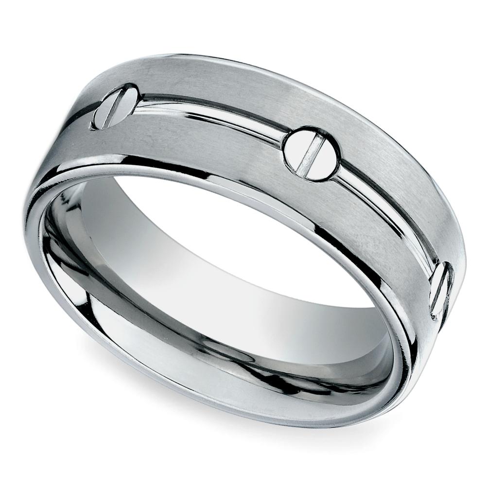 Screw Design Men's Wedding Ring in Titanium Titanium