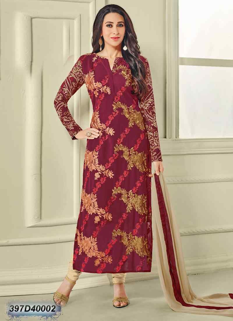 ba46b2a96 Attractive Maroon Coloured Georgette Semi stitched Salwar Suit ...