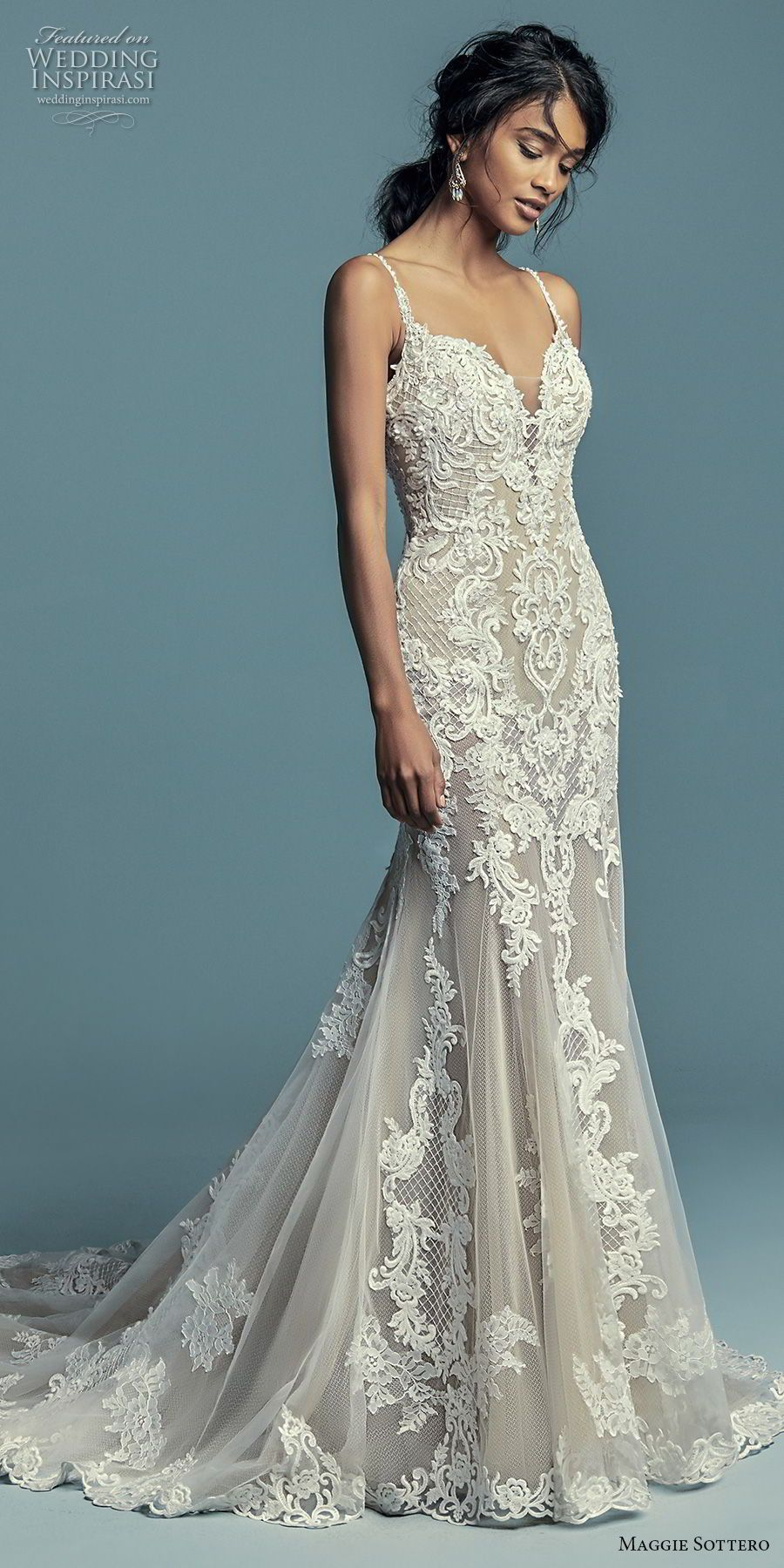Elegant mermaid wedding dresses  maggie sottero fall  bridal sleeveless thin strap sweetheart