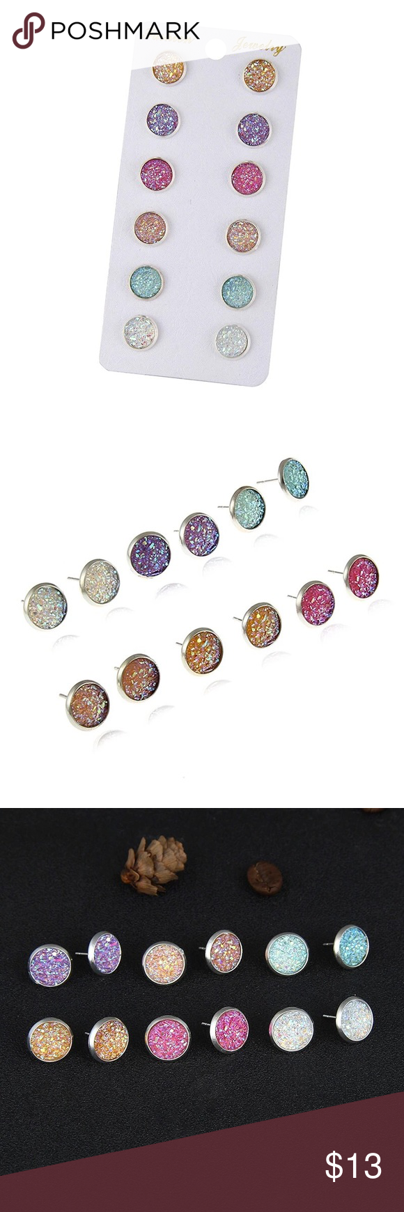 jewelry colorful crystal small pairs products women color of stud pack for earrings fashion girls teens