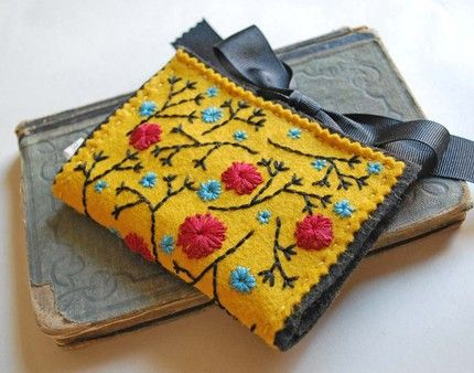 Hand Embroidered Gold Wool Felt Card Holder