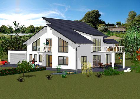 Pultdachhaus vorderansicht modernes wohnen mit pultdach for Modernes wohnen haus