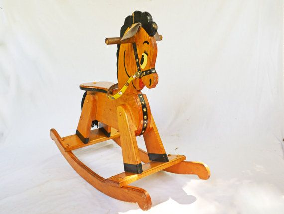 Vintage Wooden Rocking Horse Childs Riding Toy Vintage Wood Etsy Wooden Rocking Horse Rocking Horse Ride On Toys