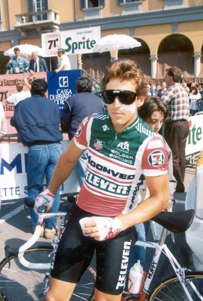 216307198 Davis Phinney (7 Eleven) at the 1988 Giro d Italia. Zinc cream covers  wounds from crash earlier in season when he smashed into back window of car.