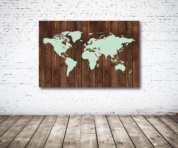 Canvas world map with wood background mint by gatherednestdesigns canvas world map with wood background mint by gatherednestdesigns gumiabroncs Image collections