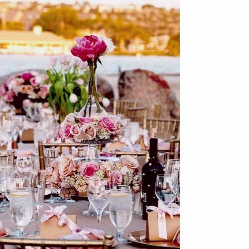 Opulent table decoration at a Marie Antoinette themed wedding.