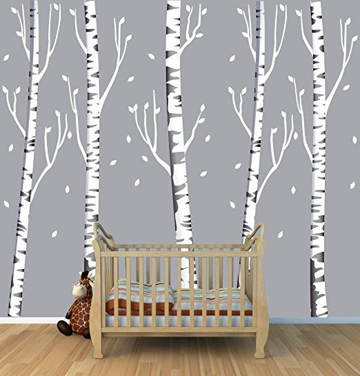 Birch Tree Decal, Reusable, Repositionable White Birch Tree Wall Decals  Brown Birch, No Birds) OBT