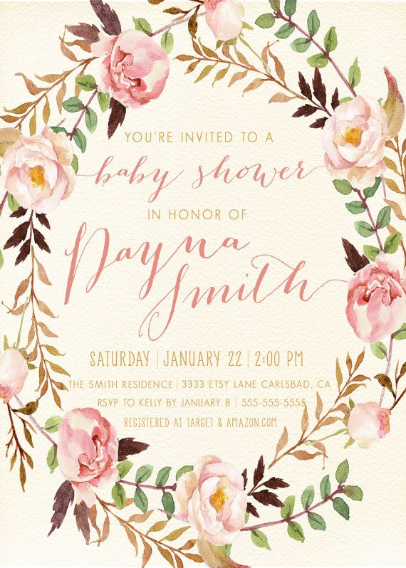 girl baby shower invitation unique boho by kreynadesigns on etsy, Baby shower invitations