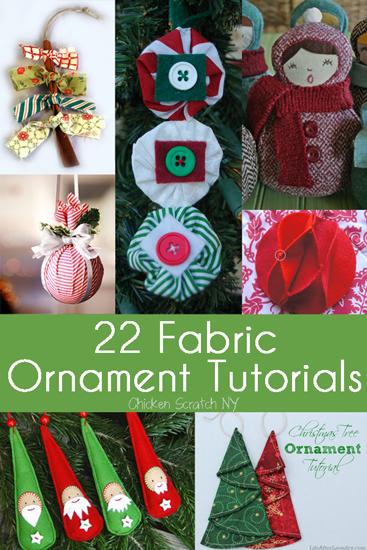 22 Fabric tutorial #Christmas Ornaments. Some of this I found really clever and pretty! Like the folded Christmas trees, for example