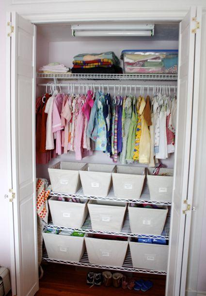Small closet organization idea. organize kids closets  Great Organization for such a small space