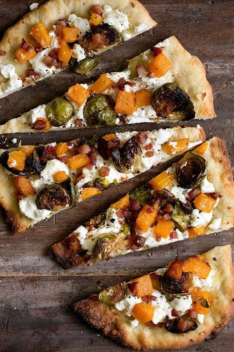Photo of Roasted Butternut Squash & Balsamic Brussels Sprout Flatbread Pizza with Goat Cheese — Cooking with Cocktail Rings
