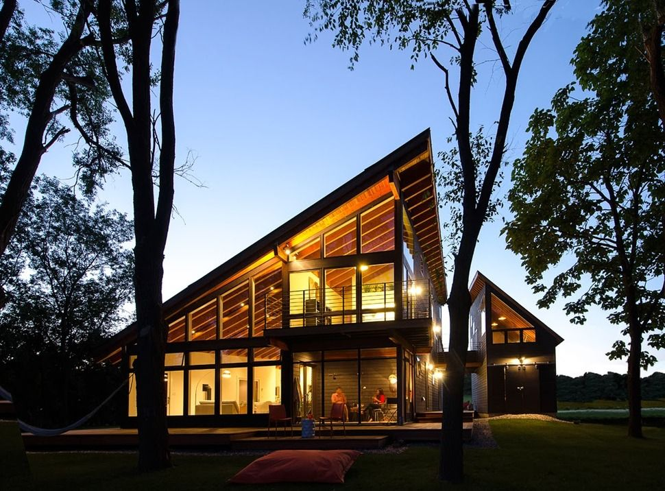 Cool lake home designed to enjoy the views and create art for Modern lake house plans