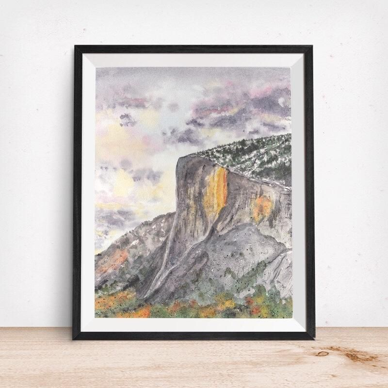 Yosemite Falls Art Print By Karin Leonard: Yosemite Valley, CA- El Capitan Firefall Horsetail Fall