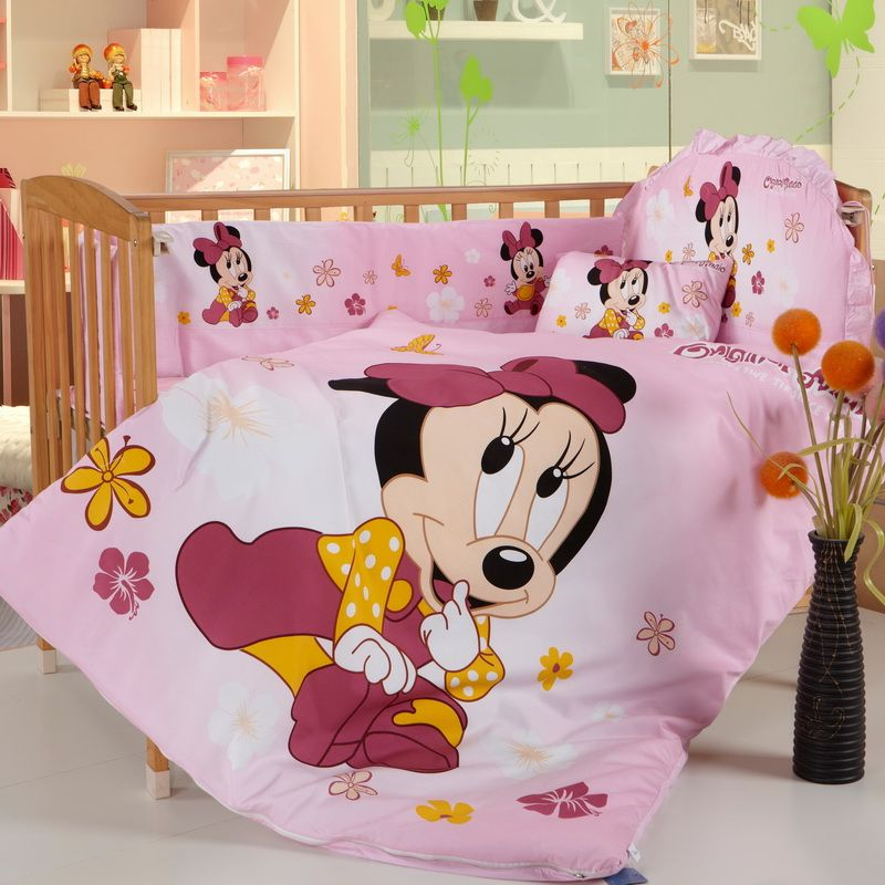 Stunning Disney Minnie Mouse Baby Crib 6pc Comforter In A Bag Highly