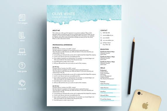 Creative resume template art teacher resume CV template