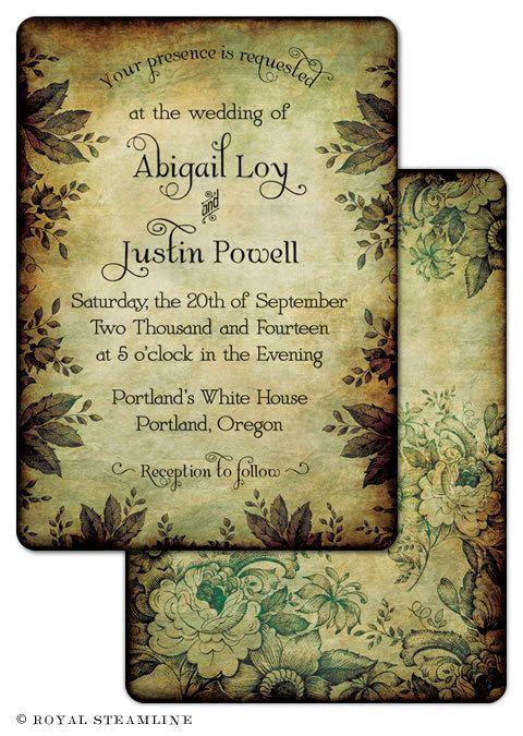 finsbury park - vintage woodland wedding invitation sample, Wedding invitations