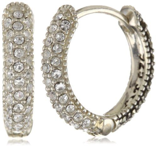 Judith Jack Marcasite Huggie Hoop Earrings Crystal Hoop Earrings Crystal Pendant Jewelry Silver Crystal Earrings