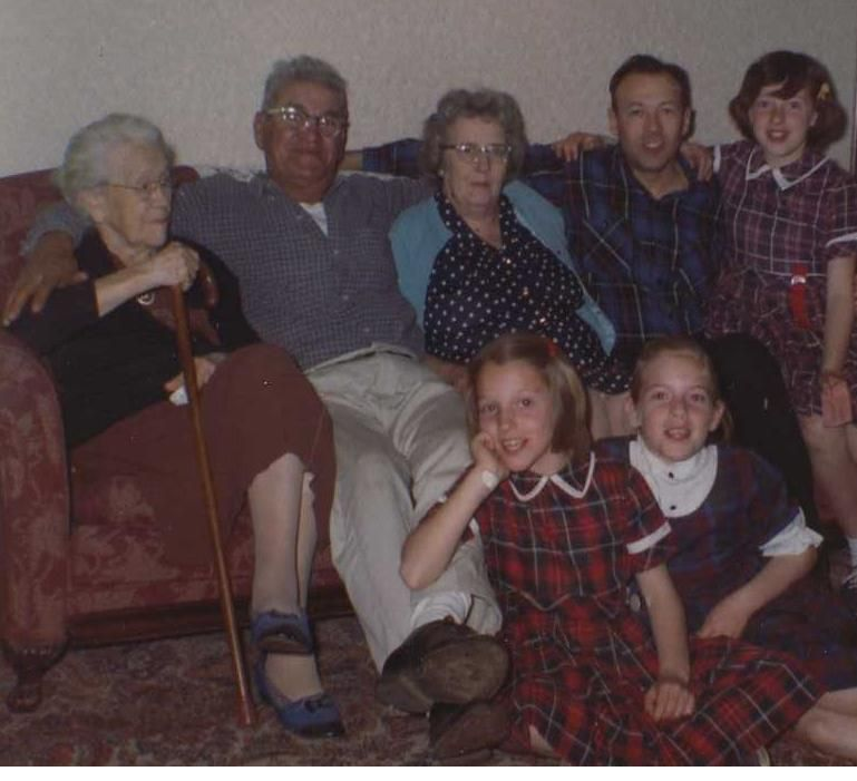 L to R, back row  Aunt Esther, Moe, Nana, George with George's daugters.