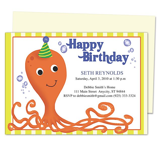Octopus Kids Birthday Party Invitation Template birthday party - birthday invitation design templates