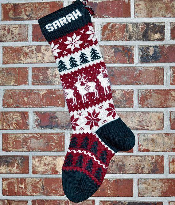 Personalized Knit Christmas Stocking- 100% U.S. Wool ...