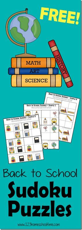 FREE Back to School Sudoku puzzles for kids - There are 2 levels ...