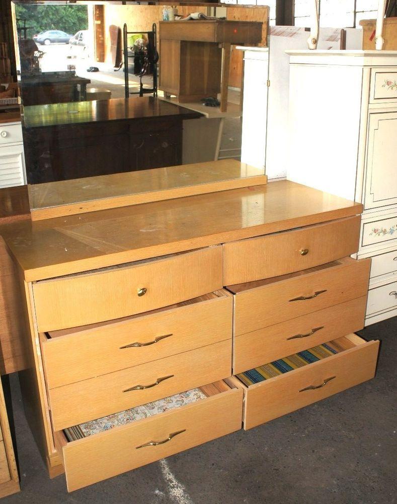 1 Vintage Bassett Furniture 6 Drawer Vanity Dresser W Mirror