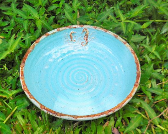Sea horse Bowl by RikaBluePottery on Etsy