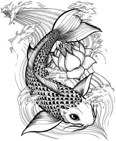 Black koi with lotus flower tattoo stencil by alejandro h for All black koi fish