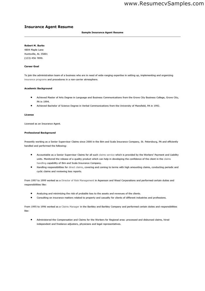 insurance broker resume objective samples recentresumes life agent ...