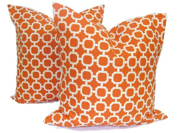 Orange Outdoor Pillows Set Of Two 16 18 Or 20 Inch Pillow Covers