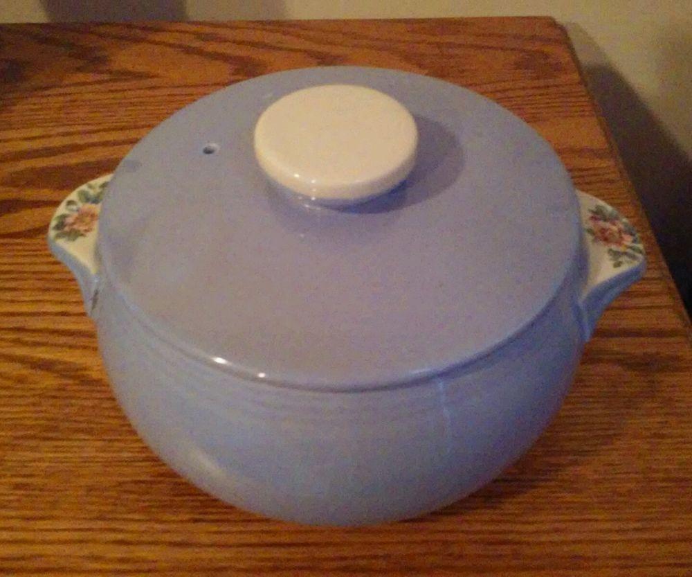 Vintage Hall Kitchenware Parade Of Roses Casserole Dish Blue1259 2 Quart  #HallSuperiorKitchenware