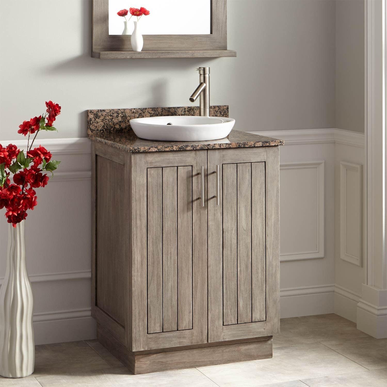 "24"" Montara Teak Vanity for SemiRecessed Sink Gray Wash"