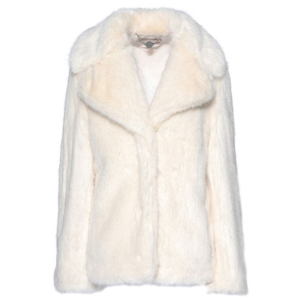 Stella McCartney Fur Free Fur Dan Coat ($1,845) ❤ liked on Polyvore featuring outerwear, coats, jackets, stella mccartney, tops, white, linen, short fur coat, short white coat and white fur coat