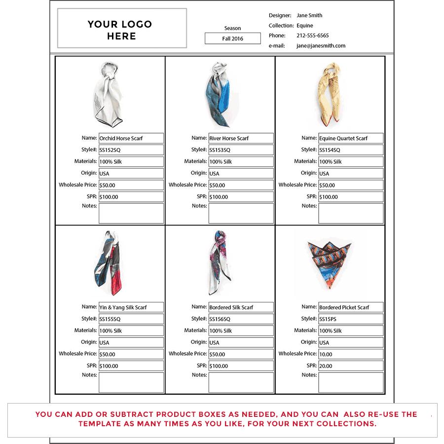 Wholesale Line Sheet Template