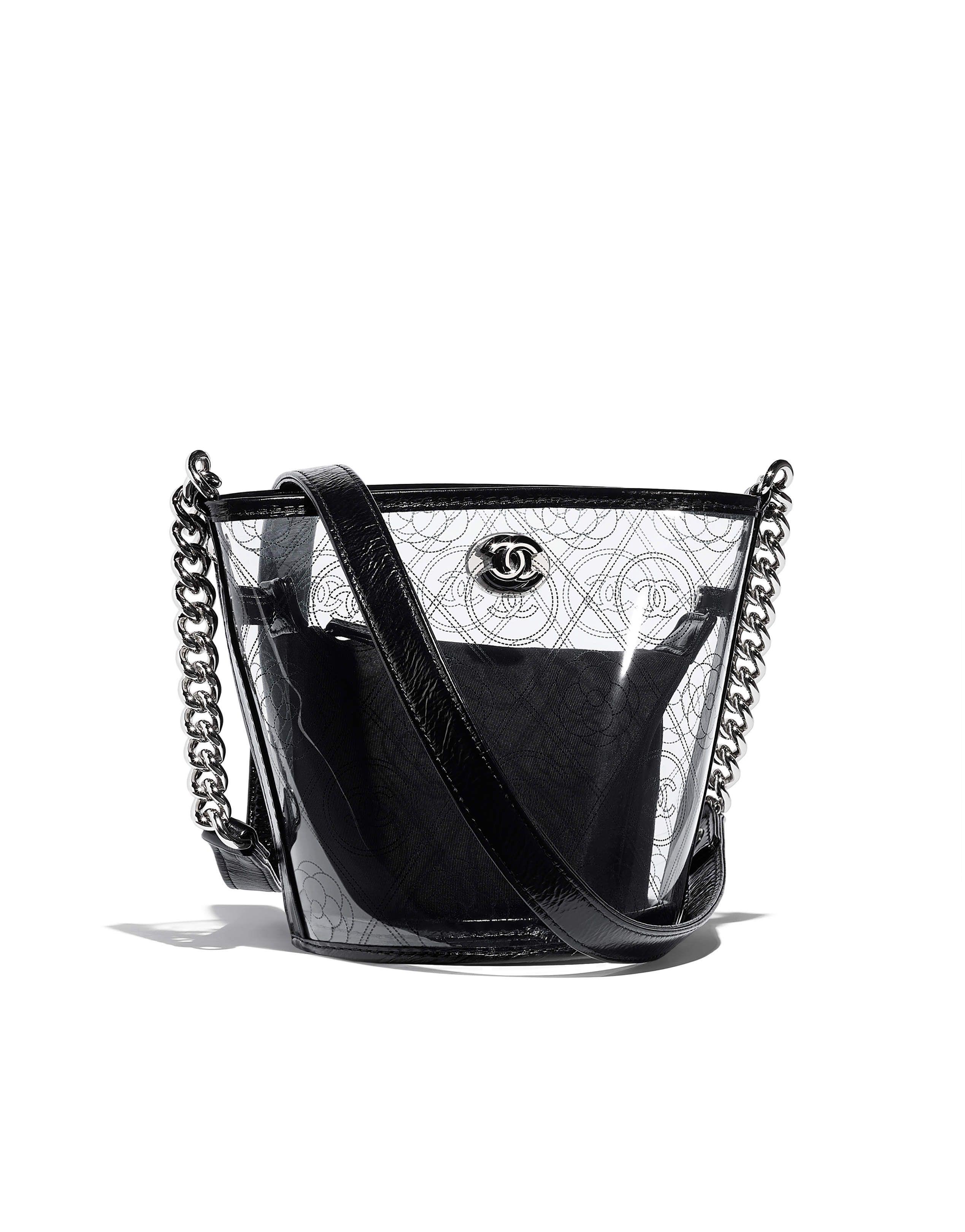 3ee4a45ad28f Chanel - SS2018   Black printed PVC bucket bag   BAGS   Chanel ...