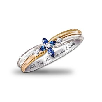 The Trinity Sapphire And Diamond Cross Women's Ring: Engraved Religious Jewelry in Fall 2012 from Bradford Exchange on shop.CatalogSpree.com, my personal digital mall.