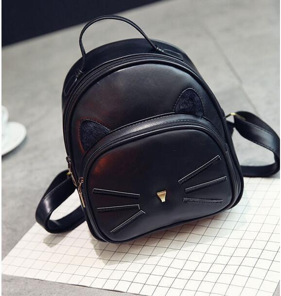 bc0e8e917132 Super Soft PU Leather Cute Cat Design Backpack Back to School ...