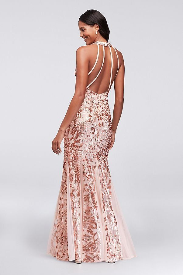 Glitter Lace and Jersey High-Neck A-Line Prom Dress | David\'s Bridal ...