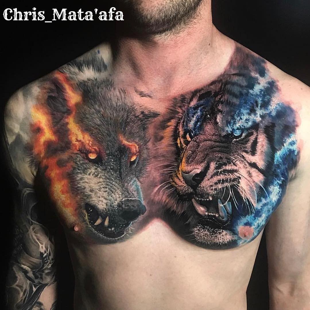 Tatuaż klatki piersiowej, Wytatuowani faceci, Kolorowe tatuaże