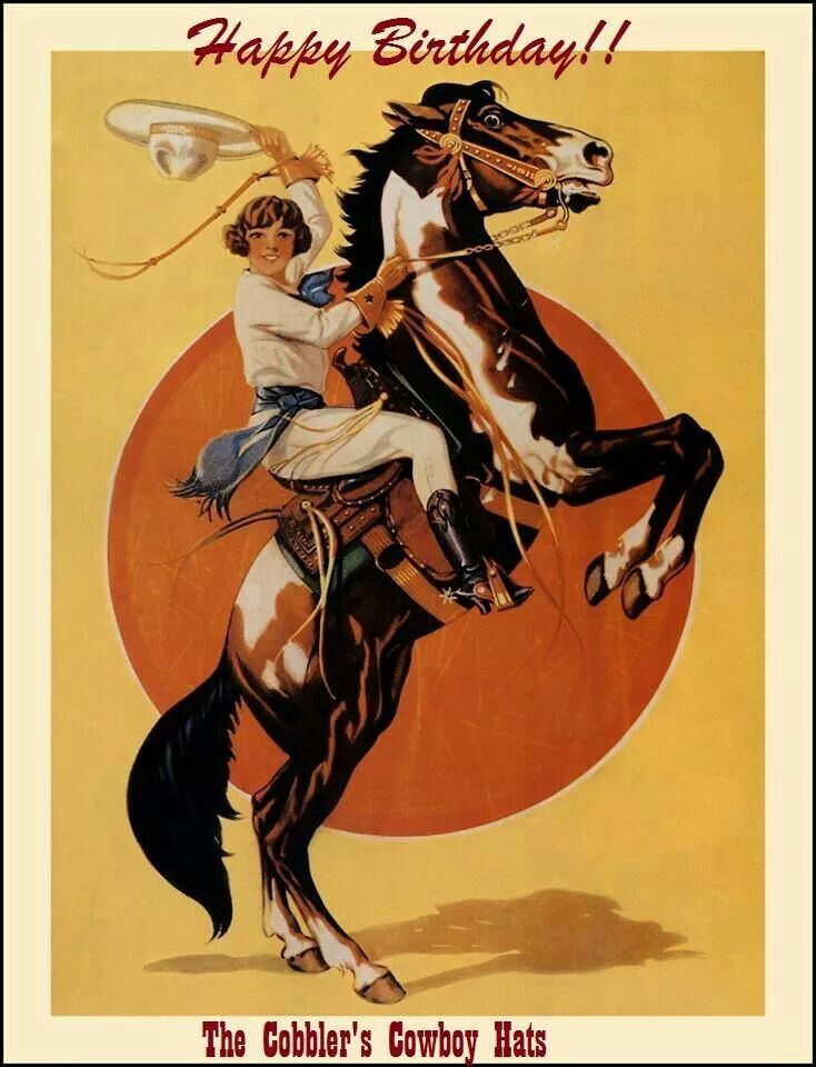 Happy Birthday Cowgirl Art Vintage Cowgirl Rodeo Poster