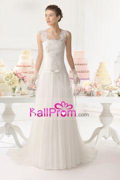 2015 vestido de novia de una línea de correas blusa plisada con apliques y cinta de tul cola de la corte USD 199.99 BAPXEK7XHP - BallProm.com