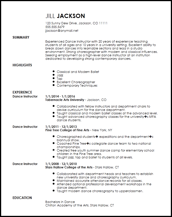 Free Professional Dancer Resume Template Resume Now Dance Resume Resume Template Professional Resume